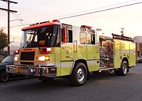 Glendale Fire Department responding to a call in Burbank
