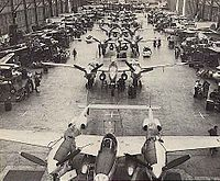 Lockheed P-38 Lightning production line in Burbank. The site is now the location of Burbank Empire Center.