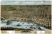 Historic aerial view of Memphis, 1870
