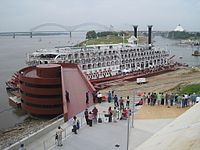 The American Queen docked at Beale Street Landing along the riverfront