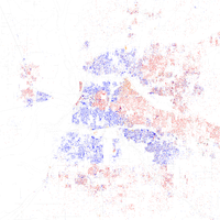 Map of racial distribution in Memphis, 2010 U.S. Census. Each dot is 25 people: White, Black, Asian Hispanic , or Other (yellow)