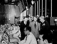 President Jimmy Carter visiting Strategic Air Command's Headquarters in Offutt Air Force Base, Nebraska, accompanied by Commanders-in-Chief of The Strategic Air Command General Richard H. Ellis along with Chairman of The Joint Chiefs of Staff General George S. Brown and United States Air Force Chief of Staff General David C. Jones and National Security Advisor Zbigniew Brzezinski.