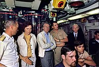 President Jimmy Carter, his wife and Admiral Hyman G. Rickover, USN (wearing tie) aboard the submarine in 1977