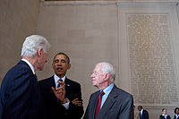 Carter (right) with President Barack Obama (center) and Bill Clinton (left) on August 28, 2013, the 50th anniversary of the March on Washington