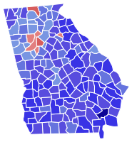 Results of the 1970 gubernatorial election in Georgia, with blue counties supporting Carter and red ones voting for Hal Suit: the relative darkness of the shade shows greater support for a candidate.