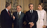 Carter with King Hussein of Jordan and Shah of Iran in 1977