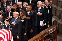 The state funeral of George H. W. Bush in December 2018. Carter and his wife Rosalynn can be seen on the far right of the photograph.
