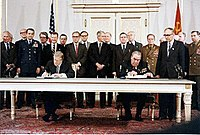 Carter and Leonid Brezhnev signing the SALT II treaty at the Hofburg Palace in Vienna, June 18, 1979