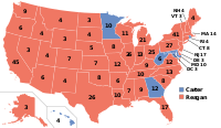 Electoral map of the 1980 election