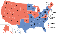 The electoral map of the 1976 election