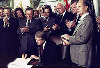 Carter signing the Airline Deregulation Act, 1978