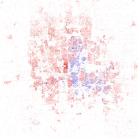 Racial distribution in Columbus in 2010: red dots indicate white Americans, blue dots for African Americans, green for Asian Americans, orange for Hispanic Americans, yellow for other races. Each dot represents 25 residents.
