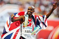 Mo Farah is the most successful British track athlete in modern Olympic Games history, winning the 5000 m and 10,000 m events at two Olympic Games.