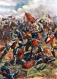 King Henry V at the Battle of Agincourt, fought on Saint Crispin's Day and concluded with an English victory against a larger French army in the Hundred Years' War