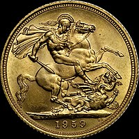 Saint George (here depicted on a British sovereign) is the patron saint of England.