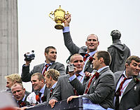 The England rugby union team during their victory parade after winning the 2003 Rugby World Cup