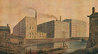 """Cotton mills in Manchester, the world's """"first industrial city"""", circa 1820"""