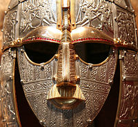 Replica of the 7th-century ceremonial Sutton Hoo helmet from the Kingdom of East Anglia