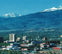 An older picture showing part of the University of Nevada, Reno campus in the foreground