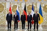 Leaders of Belarus, Russia, Germany, France, and Ukraine at the summit in Minsk, 11–12 February 2015