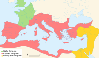 The Roman Empire suffered internal schisms, forming the Palmyrene Empire and the Gallic Empire
