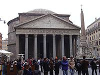 The Pantheon, Rome, built during the reign of Hadrian, which still contains the largest unreinforced concrete dome in the world