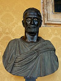 This bust from the Capitoline Museums is traditionally identified as a portrait of Lucius Junius Brutus, Roman bronze sculpture, 4th to late 3rd centuries BC