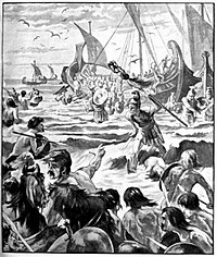 Landing of the Romans in Kent, 55 BC: Caesar with 100 ships and two legions made an opposed landing, probably near Deal. After pressing a little way inland against fierce opposition and losing ships in a storm, he retired back across the English Channel to Gaul from what was a reconnaissance in force, only to return the following year for a more serious invasion.