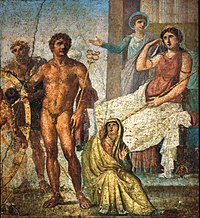 Punishment of Ixion: in the center is Mercury holding the caduceus and on the right Juno sits on her throne. Behind her Iris stands and gestures. On the left is Vulcan (blond figure) standing behind the wheel, manning it, with Ixion already tied to it. Nephele sits at Mercury's feet; a Roman fresco from the eastern wall of the triclinium in the House of the Vettii, Pompeii, Fourth Style (60–79 AD).