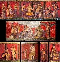 Frescoes from the Villa of the Mysteries in Pompeii, Italy, Roman artwork dated to the mid-1st century BC