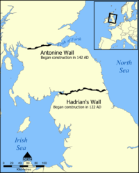Map showing the location of Hadrian's Wall and the Antonine Wall in Scotland and Northern England