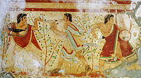 Etruscan painting; dancer and musicians, Tomb of the Leopards, in Tarquinia, Italy