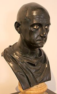 Roman bronze bust of Scipio Africanus the Elder from the Naples National Archaeological Museum (Inv. No. 5634), dated mid 1st century BC Excavated from the Villa of the Papyri at Herculaneum by Karl Jakob Weber, 1750–65