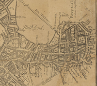 Detail of 1769 map of Boston, showing Hanover St. and North End