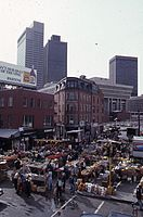 View west on Hanover Street from the Central Artery showing Haymarket, 1975
