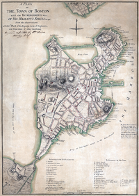 """Map showing a British tactical evaluation of Boston in 1775. It shows a street called """"Hanover Street"""" and """"Middle Street"""". Map by Lieut. Thomas Hyde Page"""