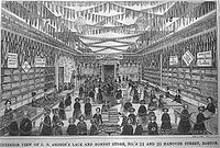 L.S. Drigg's Lace and Bonnet store, Hanover St., 1850s (illustration from Gleason's Pictorial)