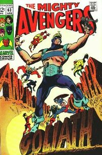 Clint Barton as the second Goliath on the cover of Avengers #63 (April 1969). Art by Gene Colan.