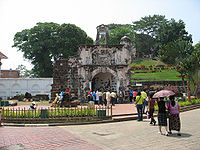 The surviving gate of the A Famosa Portuguese fortress in Malacca