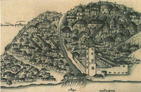 Malacca, with A Famosa, depicted by Albuquerque's scrivener, Gaspar Correia.