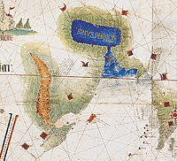 Map of the Arabian Peninsula showing the Red Sea with Socotra island (red) and the Persian Gulf (blue) with the Strait of Hormuz (Cantino planisphere, 1502)