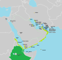 Portuguese in the Red Sea and Persian Gulf in the 16th and 17th centurys.Light green – Possessions and main cities. Dark green – Allied or under their influence. Yellow – Main factories