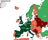 European countries by total wealth (billions USD), Credit Suisse, 2018
