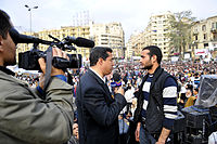 Alhurra anchor interviews Egyptian protester (Ahmed Douma) in Tahrir Square, 7 February 2011
