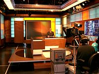 Alhurra's studio during their first live broadcast, 14 February 2004