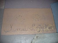 Jackson's handprints in front of The Great Movie Ride at Walt Disney World's Disney's Hollywood Studios theme park