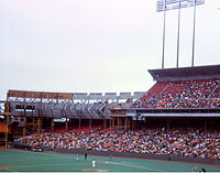 Candlestick Park upper deck expansion in progress during 1971 baseball season. Note the artificial turf then in use.