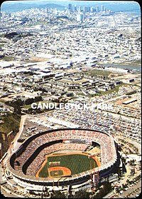 Candlestick Park was located about 6 mi south of downtown, pictured here in 1985.