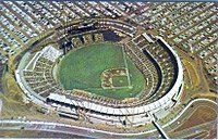Candlestick as seen shortly after it was built in its original open grandstand configuration before being enclosed