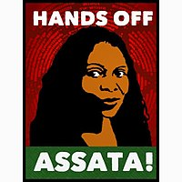 A poster from the campaign against United States efforts to extradite Assata Shakur.